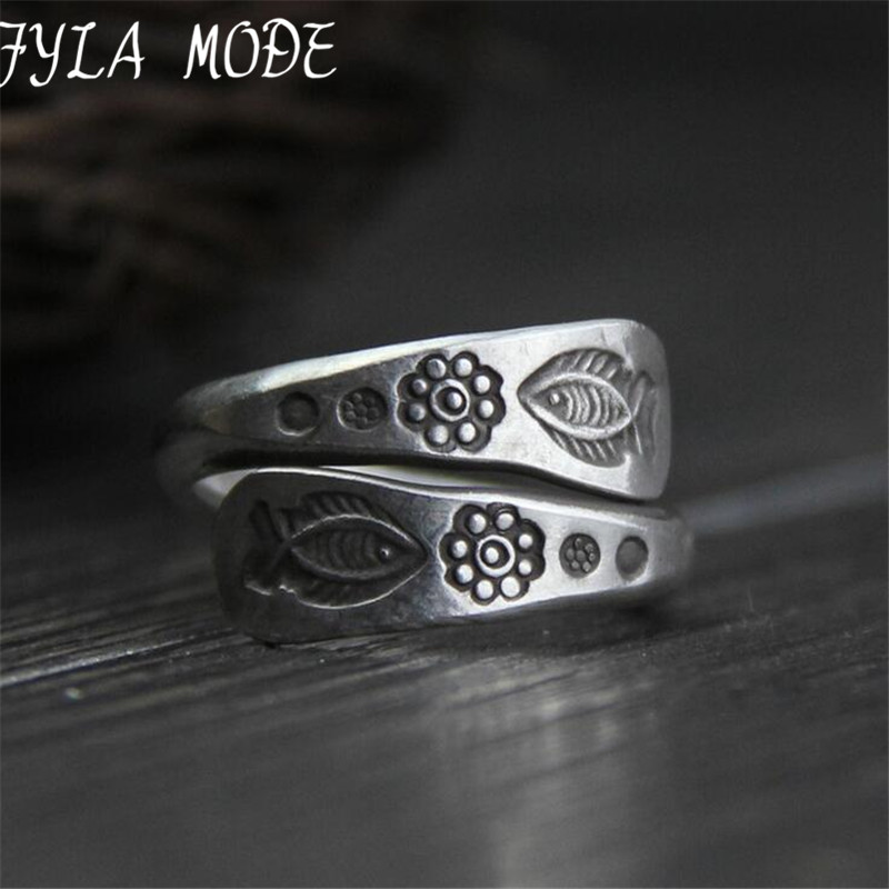 Retro Thai Silver Double Layer Ring Carved Fish Flower Charm Men and Women Classic Fashion