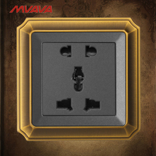 Mvava 5 Pin Outlet Universal Power Wall Socket 10A 110-250V Luxury Bronze Decorative Receptacle 2 3 Plug Free Shipping