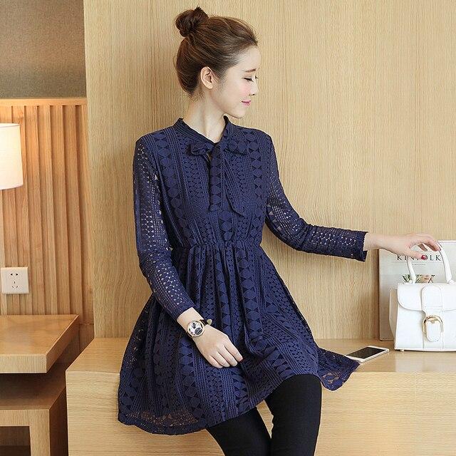 35400691d Elegante mujer vestido de encaje de manga larga embarazada Tops arco  primavera otoño ropa de embarazo