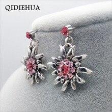 Edelweiss Earrings Zinc Alloy Antique Silver Dangle Drop Earrings