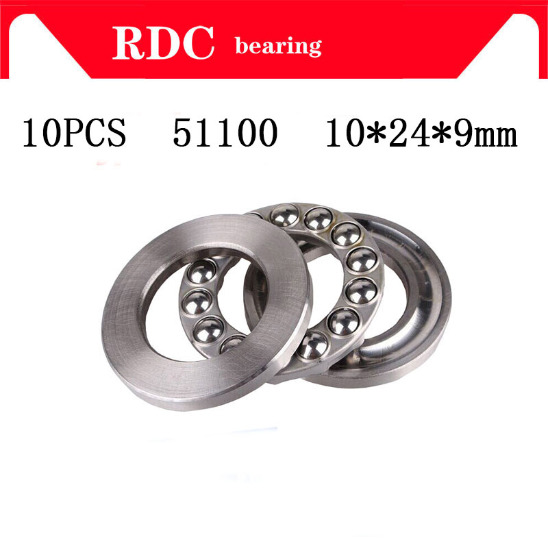 Free Shipping 10pcs/Lot 51100 10x24x9 Mm 8100 10mm X 24mm X 9mm High Quality Axial Ball Thrust Bearing Factory Sales