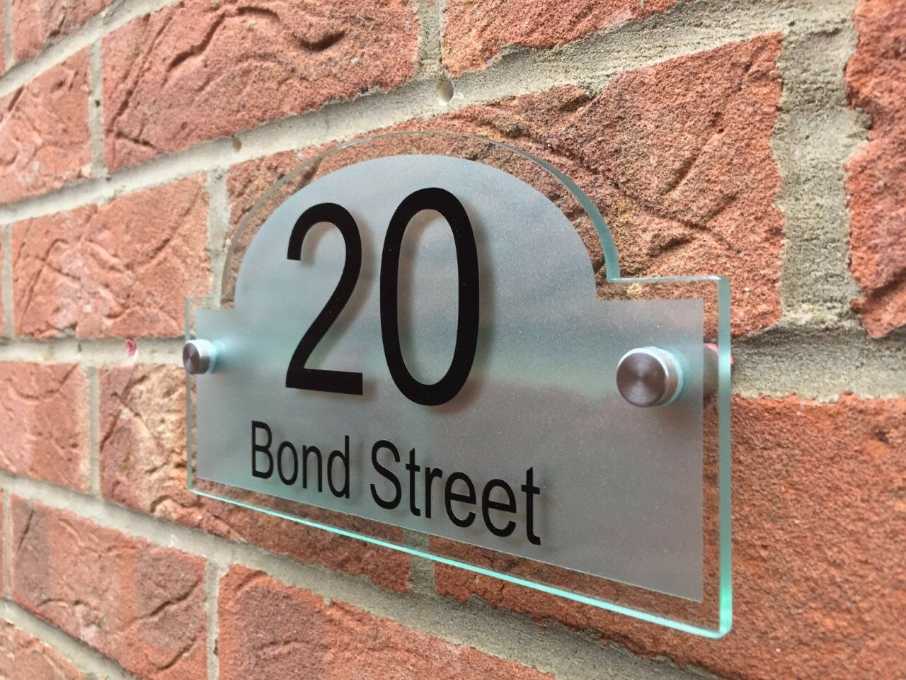 Customize large size 400x300mm Personalised House Sign Door Number Street Plaque Modern BRIDGE Glass Acylic