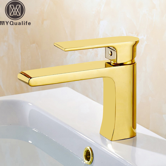 Best Quality Gold Basin Mixer Taps Single Lever Brass Long Neck ...