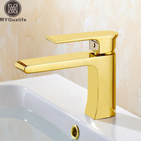Best Quality Gold Basin Mixer Taps Single Lever Brass Long Neck Bathroom Hot and Cold Water Faucet Deck Mounted One Hole