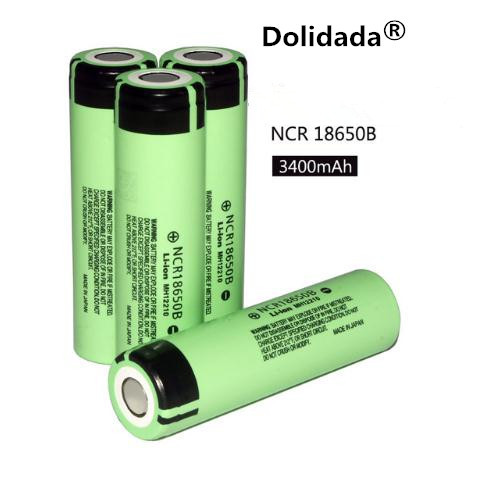 Dolidada 100% original 18650 battery 3400mah 3.7v lithium battery for panasonic NCR18650B 3400mah 3.7V flashlight battery.