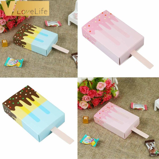 Us 3 19 30 Off 10pcs Lot Ice Cream Shape Cute Gift Boxes Baby Shower Birthday Party Popsicle Candy Box Cartoon Drawer For Kids Party Favor Box In