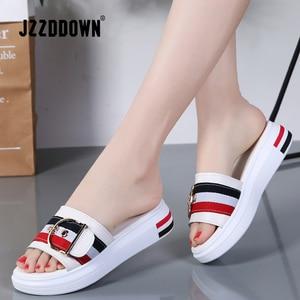 Image 2 - Jzzddown 女性スリッパフラット靴の女性の本革ビーチサンダルレディース高級ベルトプラットフォームスライドフリップは、夏