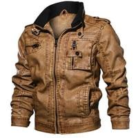 New Men's PU Leather Jacket Winter Military Pilot Bomber Jackets Autumn Fashion Outwear Motorcycle Biker Leather Coat Jacket Men