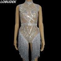Occident Bar Nightclub Female Singer DJ DS Costume Sparkly Rhinestones Bodysuit Sexy Leotard Tassels Jumpsuit Party Stage Outfit