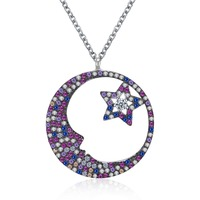 Genuine 925 Sterling Silver Crescent Moon & Star Shimmering Crystal Pendant Necklaces for Women 2018 top Fashion jewerly gift
