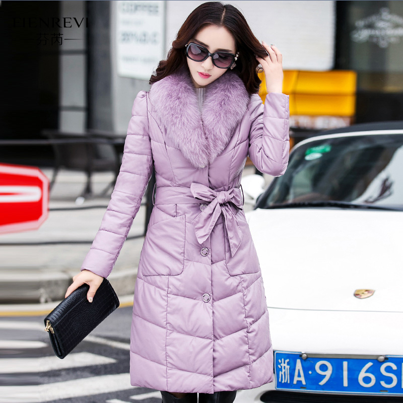 2017new Winter Fashion Parkas Long Elegant Fox Fur Collar Thick Warm Cotton Padded Female Coat Slim Plus Size Women Outwear 2017 winter new clothes to overcome the coat of women in the long reed rabbit hair fur fur coat fox raccoon fur collar