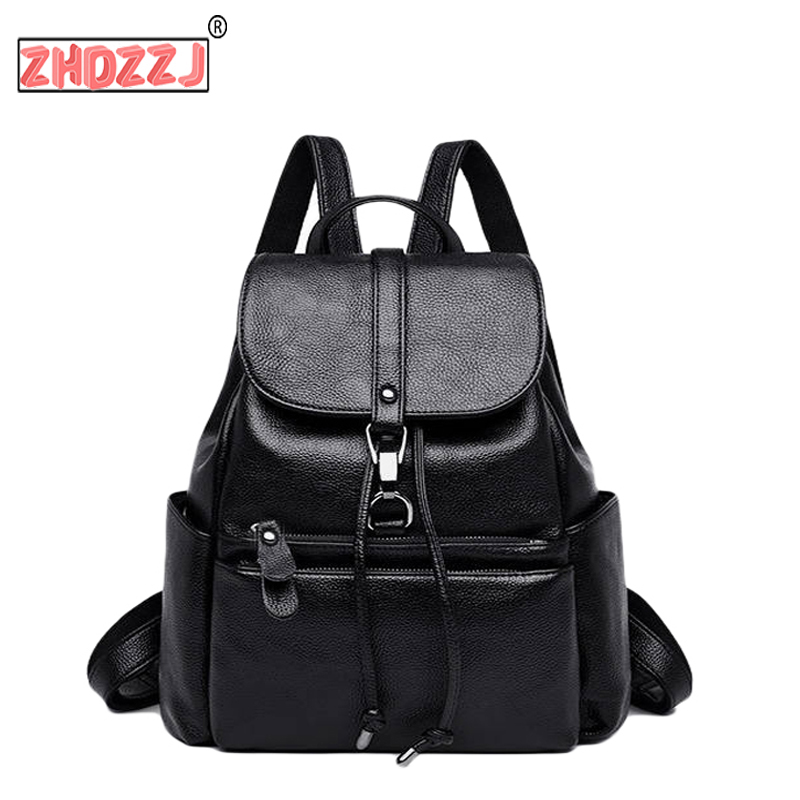 New Trend Women Backpacks Bag High Quality And Large Capacity Solid PU Leather Women Bag Casual Simple Youth Students Bag