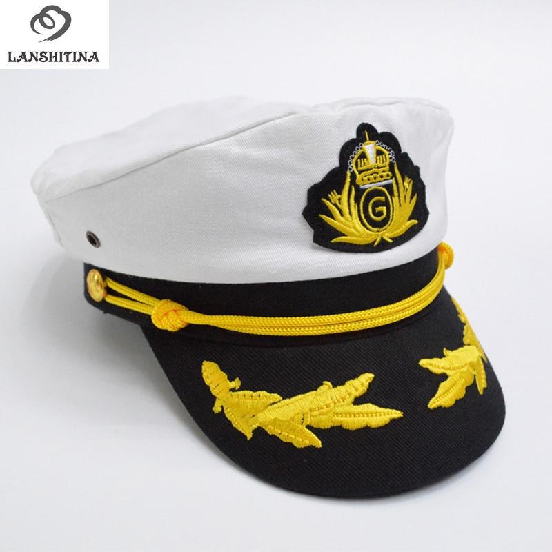 Katun kasual Topi Angkatan Laut untuk Pria Fashion Wanita Topi Seragam Topi  Militer Topi Kapten Sailor b137427058