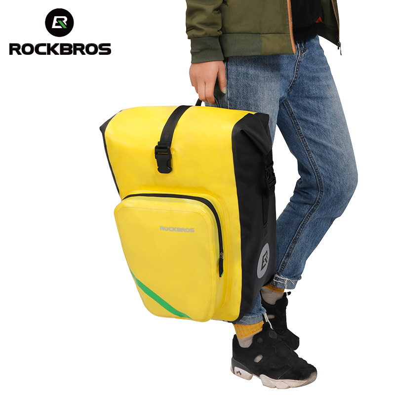 Rockbros 27L Bike Bag Nylon Waterproof Bicycle Saddle Bag MTB Road Bike Rear Seat Bag Cycling Rack Trunk Bag Bicycle Accessories high quality big capacity cycling bicycle bag bike rear seat trunk bag bike panniers bicycle seat bag accessories bags cycling