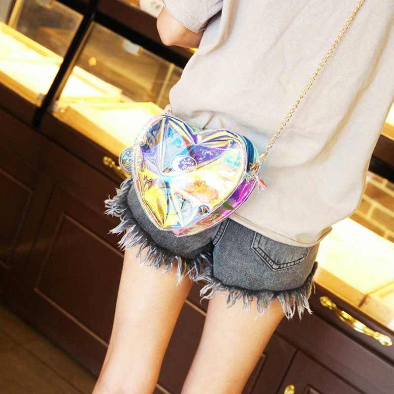 New Laser Messenger Bag Women Pink Blue Candy Color Handbags Love Heart Shape Bags For Teenage Girls