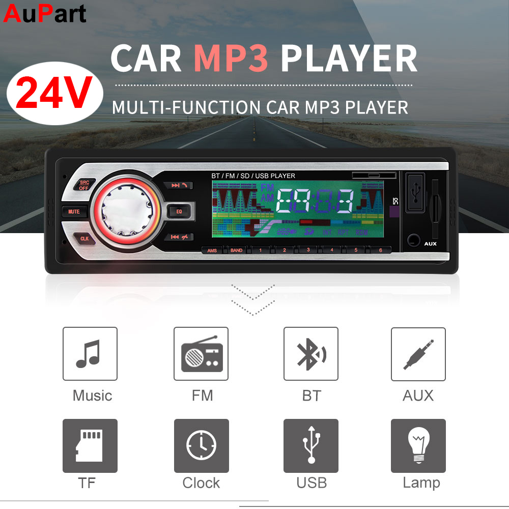 1Din 24 V Caminhão Rádio Do Carro Do Bluetooth Mãos Livres TF USB MP3 Player Coche Traço Estereo Poste de Para Áudio Auto stereo Carro Automotivo