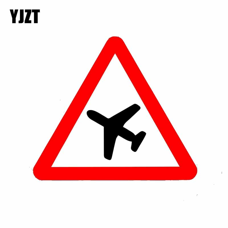 YJZT 15CM*13CM  Warning  The Pilot Warns The Reflective Car Sticker PVC Decal 12-0807