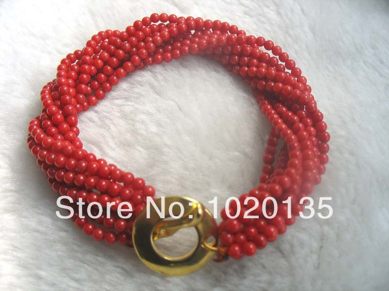 10rows red coral 3mm round bracelet loose beads nature FPPJ