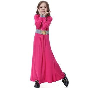 Image 5 - Elatic Trẻ Em quần áo Truyền Thống Thời Trang Đầm Bé Gái Hồi Giáo hồi giáo Dubai tiếng Ả Rập abaya Trẻ Em thoub jubah VKDR1330
