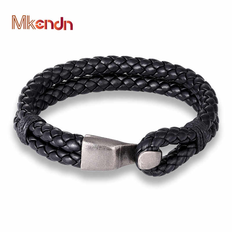 MKENDN New Fashion Multilayer charm leather Bracelets Men Women Anchor Easy-Hook Bracelets pulseras hombre