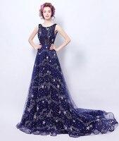 Elegant Diamond Sequins Stars Dotted Blue Long Dress 2017 Fashion Sexy Backless Sleeveless Party Dresses Vestido De Festa