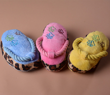 Pet Products Plush Slipper dog shoes phonate Play Squeaker Sound Toy Cotton Rope rubber colorful bell