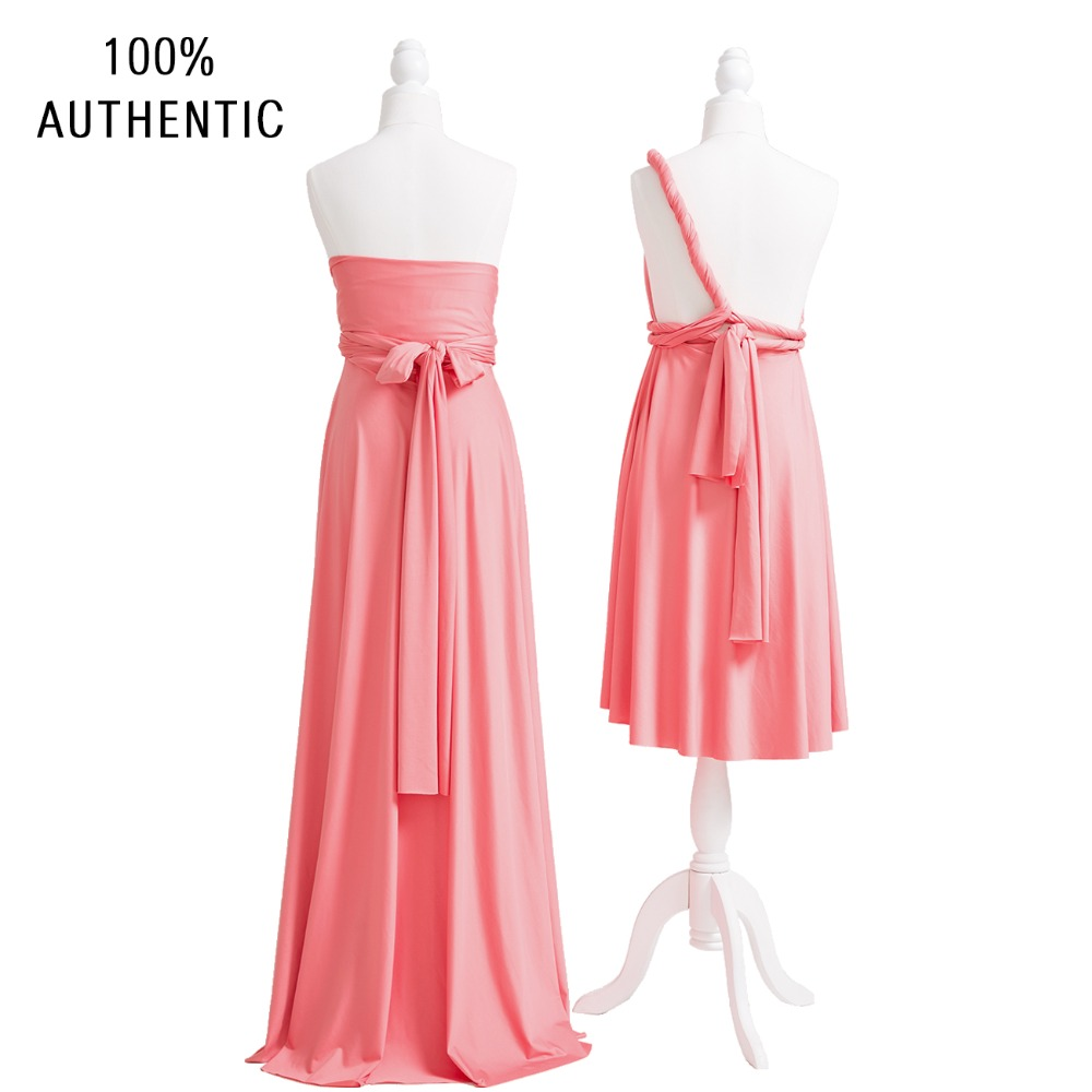 Coral Pink Bridesmaid Dress Long Infinity Dress Multiway Dress Convertible Maxi Wrap Dress With Sweetheart Style in Bridesmaid Dresses from Weddings Events