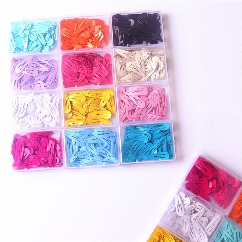 50Pcs/Box Korean Hairpins Small 3cm Hair Clips Kids Metal Snap Headwear Cute Girls Waterdrop Candy Color Hair Accessories