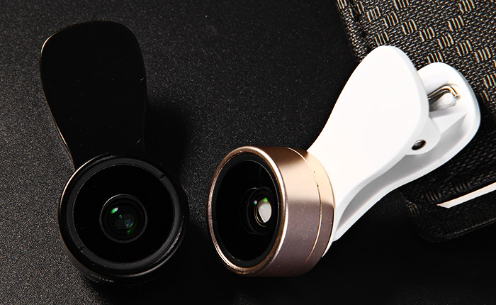 F - 515 2 in 1 0.36X Super Wide Angle 15X HD Macro Lens Kit with Clip Lens Caps 2015 Universal kamera clip