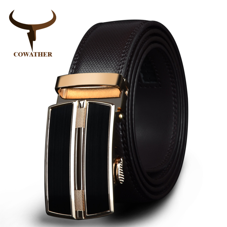 COWATHER 2019 Automatic Buckle Black Brown Cow Genuine Leather Men Belts Strap For Male Fashion Brand Cinto Masculino CZ047