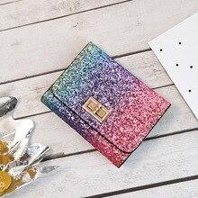 88a455481 Multicolor Arco Iris lentejuelas cartera de las mujeres de la PU de múltiples  funciones de la