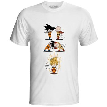One Punch Super Saiyan T-shirt Cool Fashion Anime Dragon Ball Goku Fusion One Punch Man Punk T Shirt Pop Casual Women Men Top