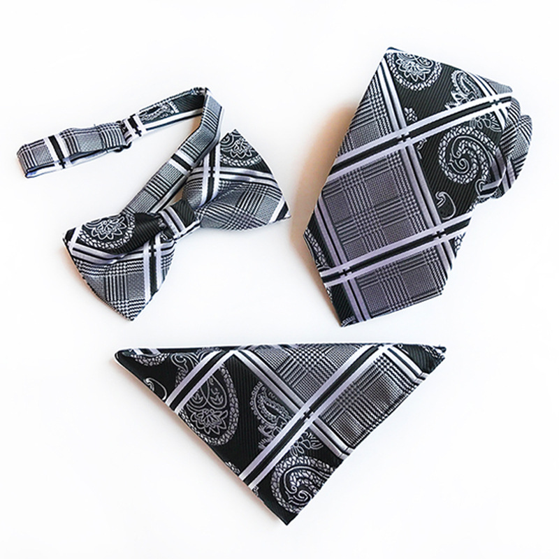 New Men`s Classic Paisley Tie 100% Silk Novelty Geometric 26 Styles Tie Hanky Bow Tie Sets for Men`s Wedding Business Party Ties