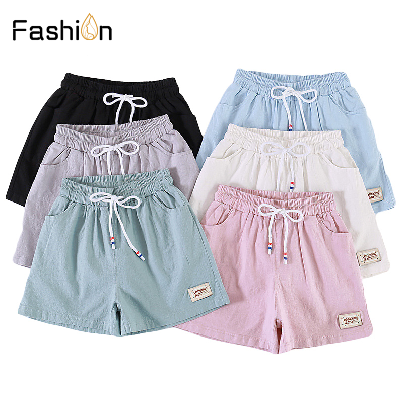 2019 Casual Active Summer Shorts Women Ladies Wide Leg Loose Shorts Straight Elastic Waist Solid High Waist Black Pink Shorts