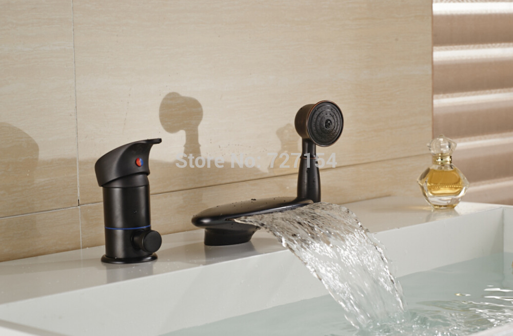 New Oil Rubbed Bronze Bathroom Tub Faucet Waterfall Tub Spout W/ Handheld Shower