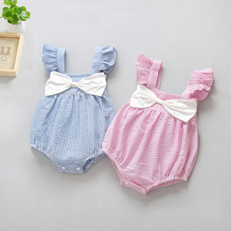 ca96c25f35c 2018 Baby Girl Ruffles Body suits White Bow Stripe Flare Sleeve Sweet  Lotards Infant Baby Rompers Wholesale