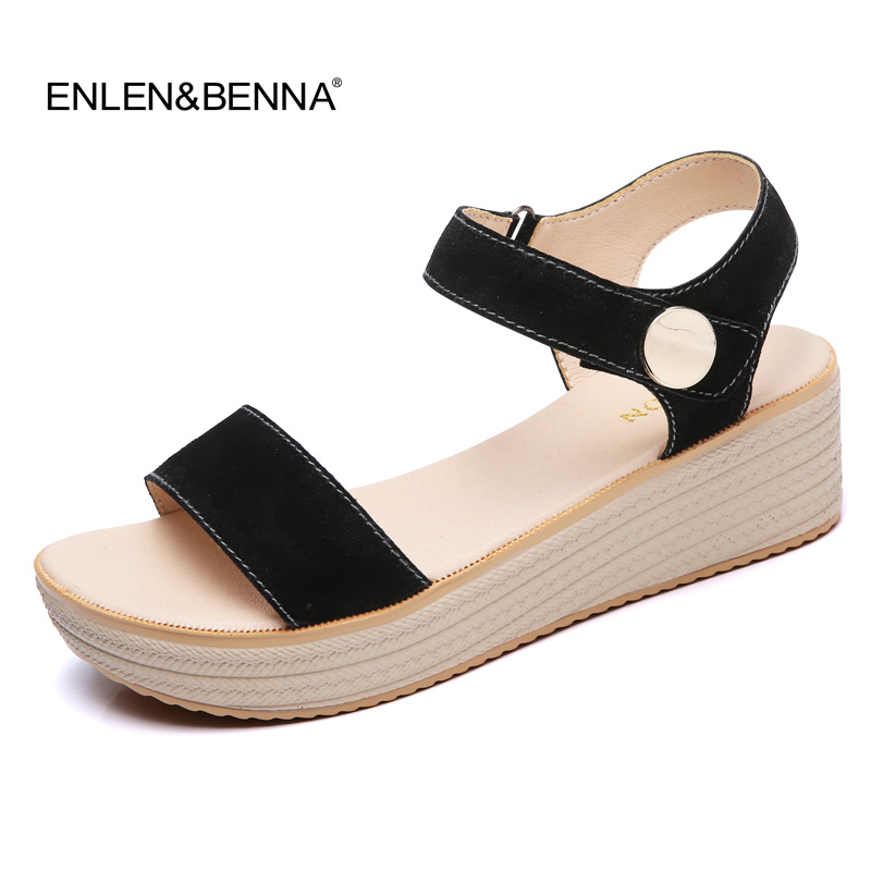 2017 Summer shoes woman Platform Sandals Women Soft Suede Leather Casual Open Toe Gladiator wedges Women Shoes zapatos mujer 2017 summer new rivet wedges sandals creepers women high heel platform casual shoes silver women gladiator sandals zapatos mujer