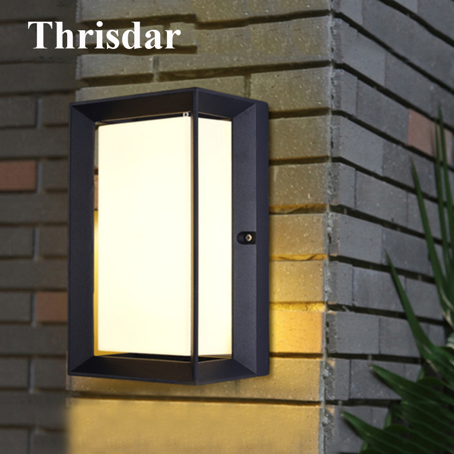Thrisdar Modern 14W Outdoor LED Wall Lamps Aluminum Waterproof Garden Porch Wall Light Patio Aisle Villa Balcony Step Wall Lamp modern villa porch light led wall light outdoor waterproof ip54 modern porch light led indoor outdoor wall lamps garden lamp