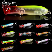 promotion hot sale 1 pcs plastic isca artificial hard Poper lures fishing flies treble hooks bait 3d eyes wobblers lure