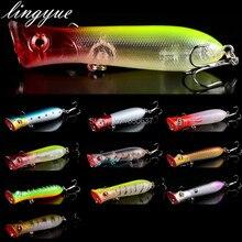 promotion hot sale 1 pcs plastic isca artificial hard Poper lures fishing flies treble hooks bait 3d eyes wobblers lure