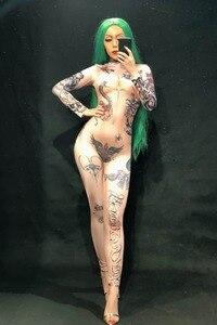 Женский сексуальный комбинезон с 3D принтом Naked Tattoo, Вечерние боди для ночного клуба, одежда для сцены, танцевальная певица, одежда для выступ...