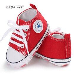 Nova lona do bebê tênis esporte sapatos para meninas meninos sapatos recém-nascidos walker infantil da criança fundo macio anti-deslizamento primeiros caminhantes