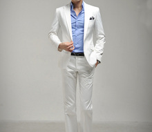 Free shipping Men's clothing men's suit men's blazer man's pants slim fit white suits quality solid colour fomal suit set