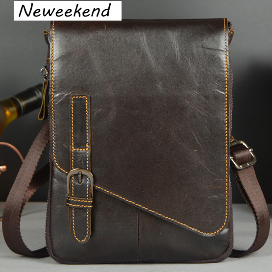 ФОТО NEWEEKEND Men's Genuine Max Oil Leather Business Bag Thin Slight Simple Shoulder iPad Bags Messenger Male for Men LZ-1501