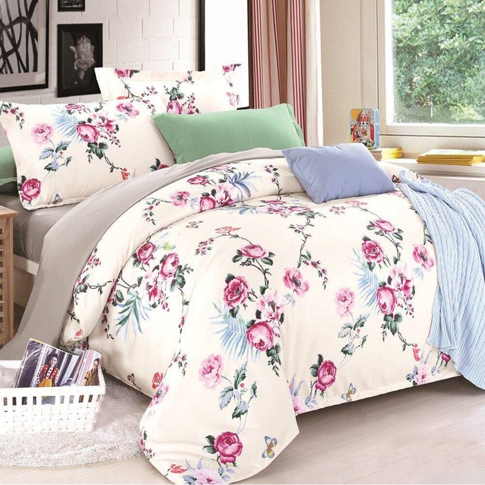 100% coton satin courtepointes couette ensembles de literie drap de lit oreiller housse de couette simple/Double/King Size adultes matelassé