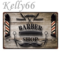 [ Kelly66 ] Barber Shop Funny Classic Decor Painting old Wall tin signs Craft Plaque 20*30 CM Size Y-1055