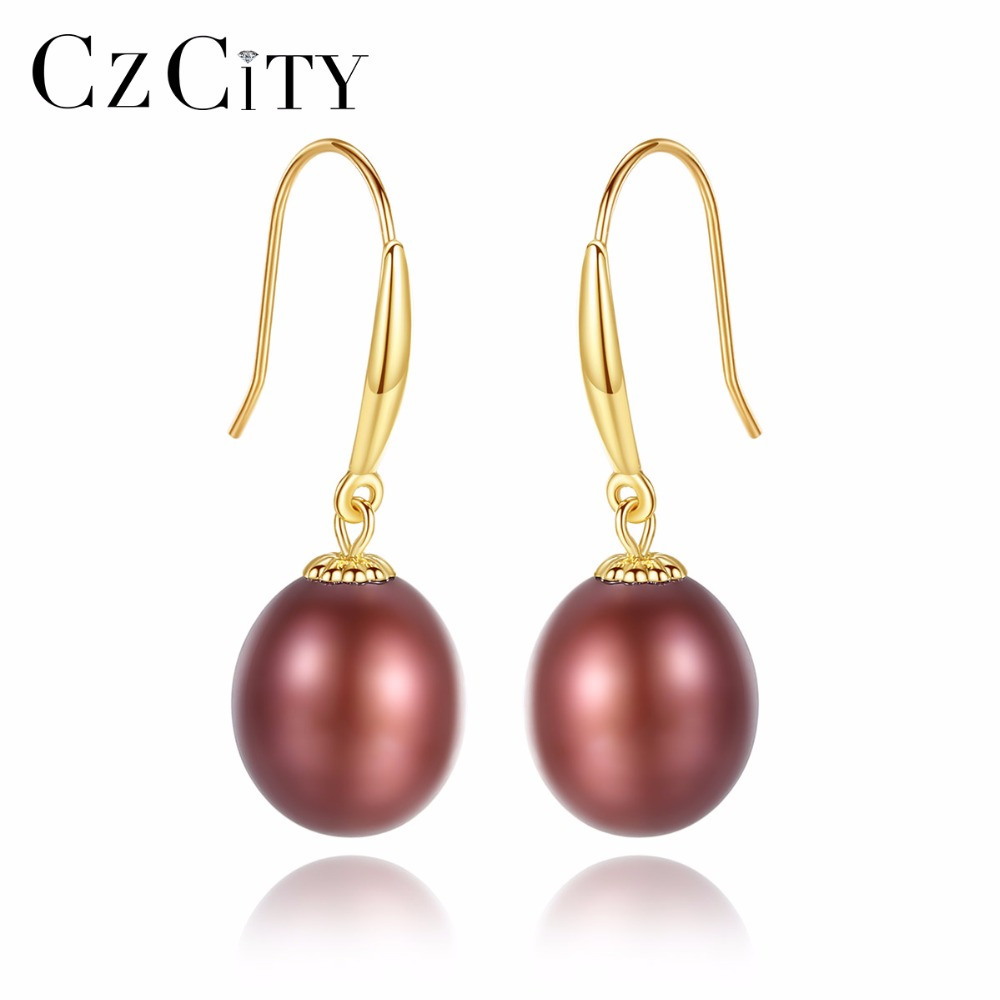 CZCITY 18K Gold Drop Earring Five Colors 8-9mm Freshwater Pearls 18K Yellow Gold Hook Earrings for Women yoursfs 18k white gold plated black rose flower pendant drop hook earring for women