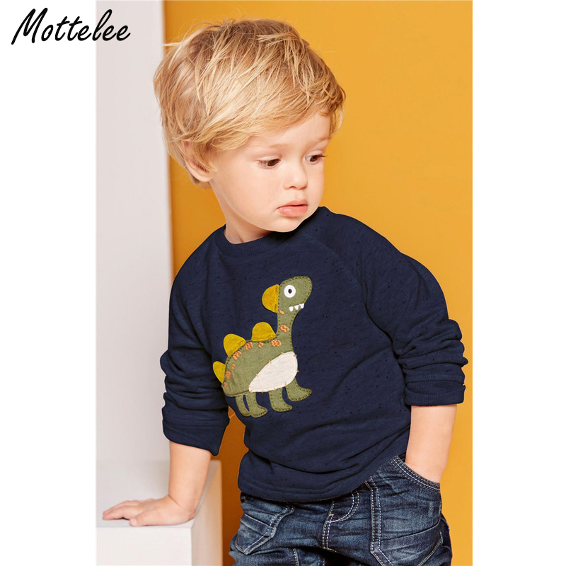 Mottelee Long Sleeve Kids Boys Sweatshirt Dinosaur T Shirt Spring Baby Boy Appliques Tops Children Clothing for Boy 1 to 6 Years