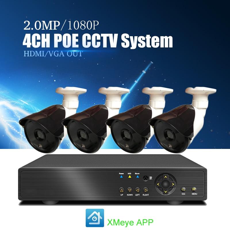 YiiSPO 4CH POE CCTV System 1080P IP Camera Weatherproof IR Night Vison Security 2.0MP Camera Surveillance Kit P2P XMeye APP view