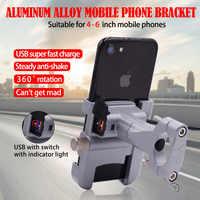 BuzzLee Motorrad Universal Aluminium Legierung Telefon Halter Mit USB Ladegerät Lenker Halterung für Stand für 4-6 zoll Telefon halter
